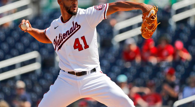 FILE - In a Monday, March 2, 2020 file photo, Washington Nationals pitcher Joe Ross throws during the first inning of a spring training baseball game against the Miami Marlins, in West Palm Beach, Fla.