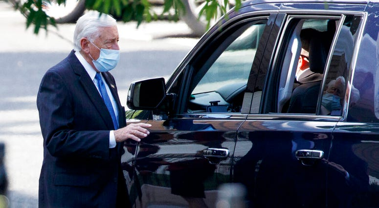 House Majority Leader Steny Hoyer of Md. leaves an intelligence briefing on reports of a Russian operation to pay Afghan militants targeting U.S. troops in Afghanistan, at the White House, Tuesday, June 30, 2020, in Washington.