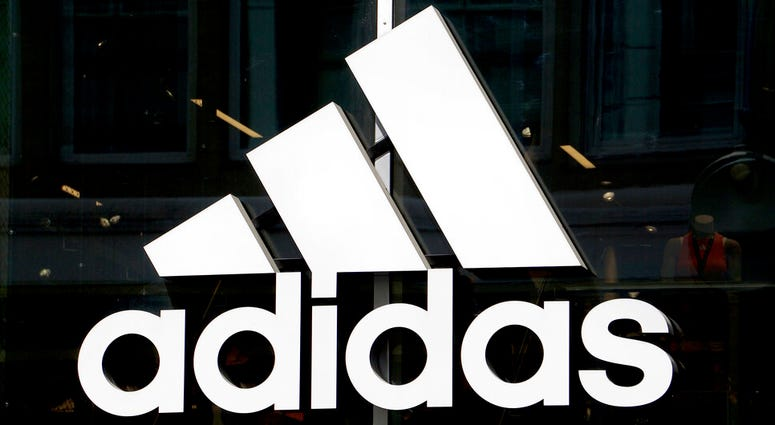 This May 6, 2019 photo shows the logo of the sports goods manufacturer Adidas in Berlin, Germany.