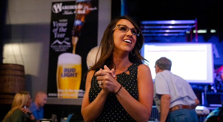 Lauren Boebert waits for returns during a watch party in Grand Junction, Colo., Tuesday, June 30, 2020. Boebert defeated five-term Rep. Scott Tipton in the Republican primary in the 3rd Congressional District.