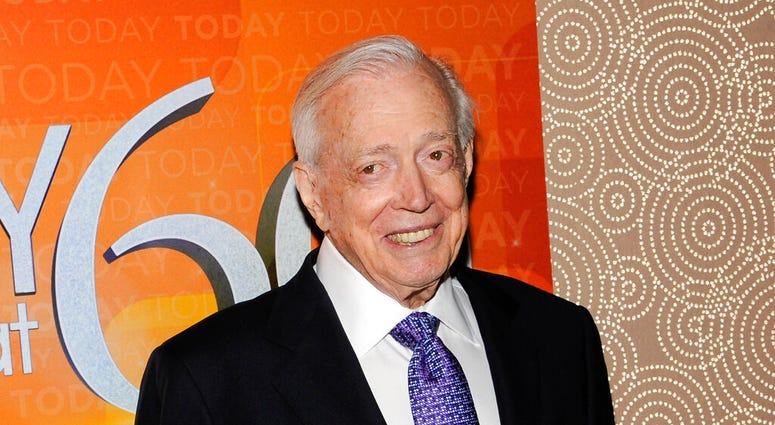 """FILE - This Jan. 12, 2012 file photo shows Hugh Downs at the """"Today"""" show 60th anniversary celebration in New York."""