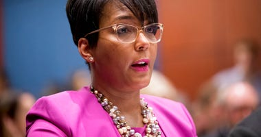 FILE - In this July 17, 2019, file photo, Atlanta Mayor Keisha Lance Bottoms speaks during a Senate Democrats' Special Committee on the Climate Crisis on Capitol Hill in Washington.