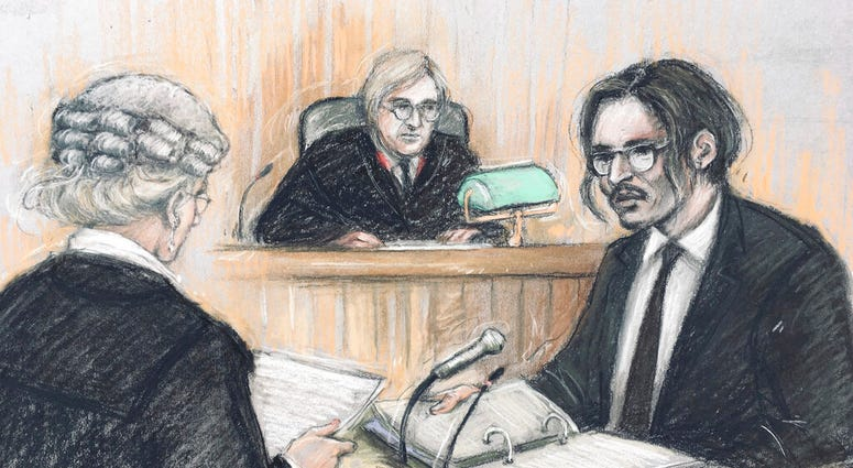 Court artist sketch by Elizabeth Cook, showing actor Johnny Depp, right, being cross-examined by Sasha Wass QC, left, before the judge, Justice Nicol, at the High Court in London, Tuesday July 7, 2020.