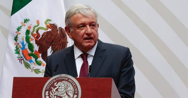 FILE - In this April 5, 2020 file photo, Mexican President Andres Manuel Lopez Obrador speaks at the National Palace in Mexico City. (AP Photo/Eduardo Verdugo, File)