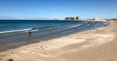 his September 2018 photo shows the beach at the popular tourist resort of Puerto Peñasco in the state of Sonora, Mexico.