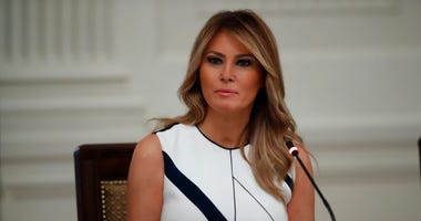 "First lady Melania Trump during a ""National Dialogue on Safely Reopening America's Schools,"" event in the East Room of the White House, Tuesday, July 7, 2020, in Washington."