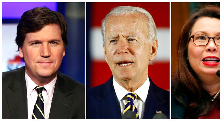 """In this combination photo, Tucker Carlson, from left, host of """"Tucker Carlson Tonight,"""" poses for photos on March 2, 2017, in New York, democratic presidential candidate, former Vice President Joe Biden speaks on June 17, 2020, in Darby, Pa. and Sen. Tamm"""