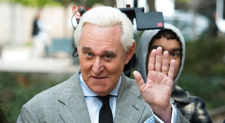FILE - In this Nov. 7, 2019, file photo, Roger Stone arrives at federal court in Washington.