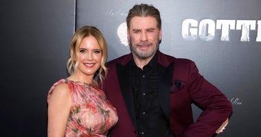 "FILE - In this June 14, 2018, file photo, Kelly Preston and John Travolta attend the premiere of ""Gotti"" at the SVA Theatre in New York."