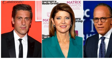 This combination photo shows, from left, David Muir at the Time 100 Gala on April 23, 2019, in New York, Norah O'Donnell at the Matrix Awards on May 6, 2019, in New York and Lester Holt posing for a photo on July 31, 2019 in New York.