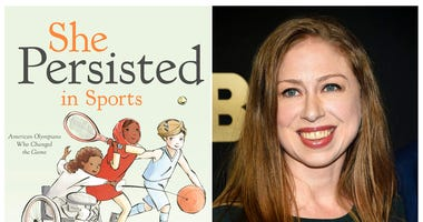 "This combination photo shows a cover image released by Penguin Young Readers of ""She Persisted in Sports"" by Chelsea Clinton, left, and Chelsea Clinton at the Lincoln Center for the Performing Arts American Songbook Gala on May 29, 2018, in New York."