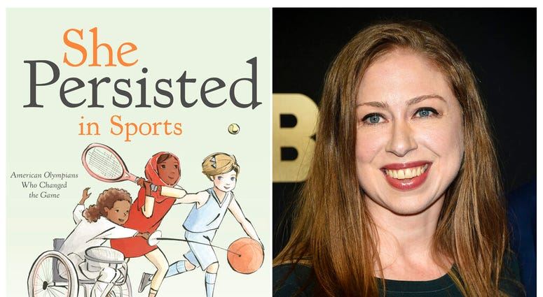 """This combination photo shows a cover image released by Penguin Young Readers of """"She Persisted in Sports"""" by Chelsea Clinton, left, and Chelsea Clinton at the Lincoln Center for the Performing Arts American Songbook Gala on May 29, 2018, in New York."""