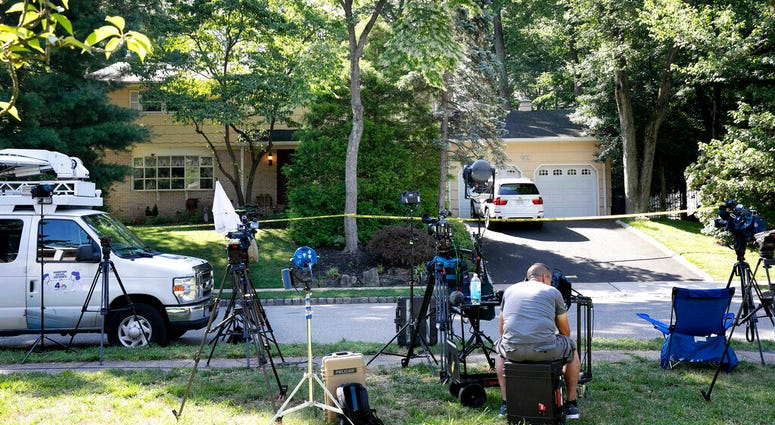 News media is set up in front of the home of U.S. District Judge Esther Salas, Monday, July 20, 2020, in North Brunswick, N.J.