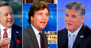 "In this combination photo, Ed Henry, from left, speaks on ""Fox & Friends"" on Sept. 6, 2019, in New York, Tucker Carlson arrives for the 60th anniversary celebration of NBC's Meet the Press on Nov. 17, 2007, in Washington and Sean Hannity interviews Rosean"