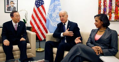FILE - In this Dec. 15, 2010, file photo Vice President Joe Biden, center, and Susan Rice, the U.S. Ambassador to the United Nations, meet with U.N. Secretary-General Ban Ki-moon before a session of the U.N. Security Council, at U.N. headquarters.