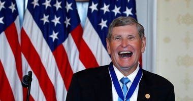 Jim Ryun reacts after President Donald Trump presented the Presidential Medal of Freedom to Ryun, in the Blue Room of the White House, Friday, July 24, 2020, in Washington.