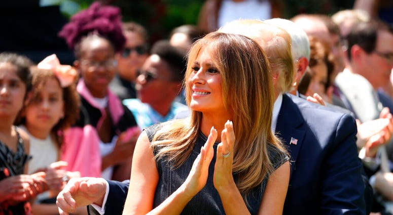 FILE - In this May 7, 2019 file photo, first lady Melania Trump attends a one year anniversary event for her Be Best initiative in the Rose Garden of the White House in Washington.  (AP Photo/Andrew Harnik)