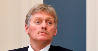 FILE - In this Tuesday, April 14, 2020 file photo, Kremlin spokesman Dmitry Peskov attends a video conference.  (Alexei Nikolsky, Sputnik, Kremlin Pool Photo via AP, File)