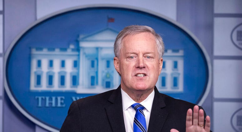 White House Chief of Staff Mark Meadows speaks during a press briefing in the James Brady Press Briefing Room at the White House, Friday, July 31, 2020, in Washington. (AP Photo/Alex Brandon)
