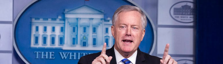 White House Chief of Staff Mark Meadows speaks during a press briefing in the James Brady Press Briefing Room at the White House, Friday, July 31, 2020, in Washington.