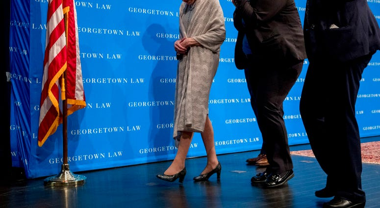 FILE - In this Sept. 12, 2019, file photo Supreme Court Justice Ruth Bader Ginsburg departs after speaking at Georgetown Law in Washington.