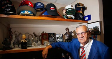 Former Maricopa County Sheriff Joe Arpaio poses for a photograph in his office as he is running for the position of Maricopa County Sheriff again, Wednesday, July 22, 2020, in Fountain Hills, Ariz.