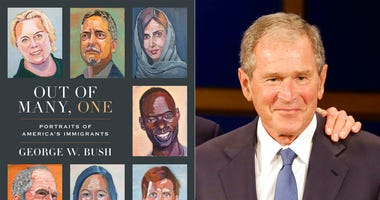 "This combination photo shows the cover image for ""Out of Many, One: Portraits of America's Immigrants"" by George W. Bush, left, and a photo of former President George W. Bush."