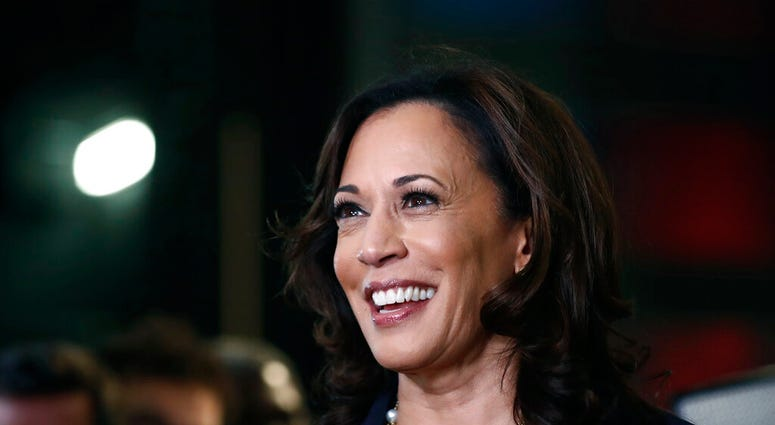 In this June 27, 2019, file photo, then-Democratic presidential candidate Sen. Kamala Harris, D-Calif., listens to questions. (AP Photo/Brynn Anderson, File)