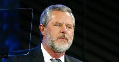 FILE - In this Nov. 28, 2018, file photo, Liberty University President Jerry Falwell Jr. speaks before a convocation at Liberty University in Lynchburg, Va.