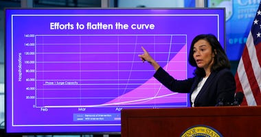 In this April 14, 2020 file photo, Dr. Sonia Angell, director of the California Department of Public Health discusses the state's efforts concerning the coronavirus. (AP Photo/Rich Pedroncelli, Pool, File)