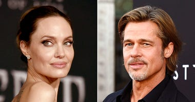 """This combination photo shows Angelina Jolie at the world premiere of """"Maleficent: Mistress of Evil"""" in Los Angeles on Sept. 30, 2019, left, and Brad Pitt at the special screening of """"Ad Astra"""" in Los Angeles on Sept. 18, 2019. (AP Photo)"""