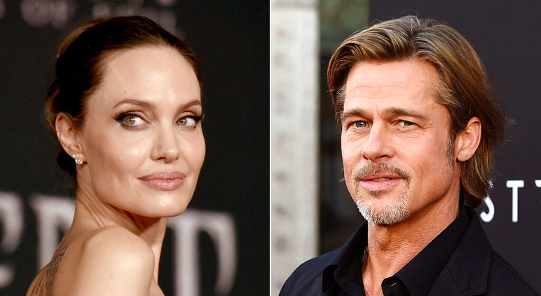 "This combination photo shows Angelina Jolie at the world premiere of ""Maleficent: Mistress of Evil"" in Los Angeles on Sept. 30, 2019, left, and Brad Pitt at the special screening of ""Ad Astra"" in Los Angeles on Sept. 18, 2019. (AP Photo)"