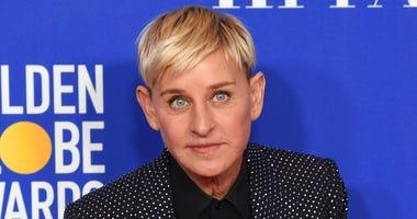 FILE - Ellen DeGeneres, winner of the Carol Burnett award, poses in the press room at the 77th annual Golden Globe Awards on Jan. 5, 2020, in Beverly Hills, Calif.  (AP Photo/Chris Pizzello, File)