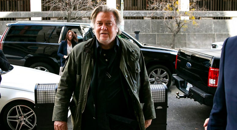 In this Nov. 8, 2019 file photo, former White House strategist Steve Bannon arrives to testify at the trial of Roger Stone, at federal court in Washington. (AP Photo/Al Drago, File)