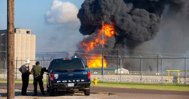 Emergency crews respond to a pipeline explosion near Lantana and Up River road in Corpus Christi, Texas, on Friday, Aug. 21, 2020.