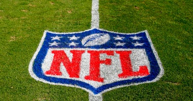 FILE - In this Nov. 4, 2018 file photo, the NFL logo is displayed on the field at the Bank of American Stadium before an NFL football game between the Tampa Bay Buccaneers and the Carolina Panthers in Charlotte, N.C.  (AP Photo/Nell Redmond, File)