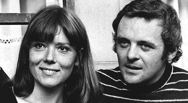 FILE - In this Sept. 20, 1972 file photo, British actress Diana Rigg and actor Anthony Hopkins attend the opening night of Macbeth at the National Theatre, London.