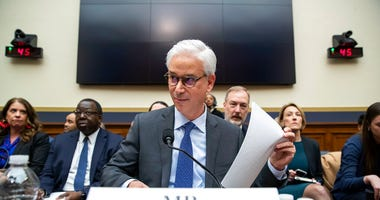 FILE - In this March 10, 2020 file photo, Wells Fargo CEO and President Charles Scharf is seated before he testifies during a hearing of the House Financial Services Committee, on Capitol Hill, in Washington. (AP Photo/Alex Brandon, File)