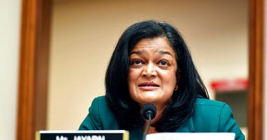 Rep. Pramila Jayapal, D-Wash., speaks during a House Judiciary subcommittee on antitrust on Capitol Hill in a Wednesday, July 29, 2020,file photo, in Washington. (Mandel Ngan/Pool via AP, File)