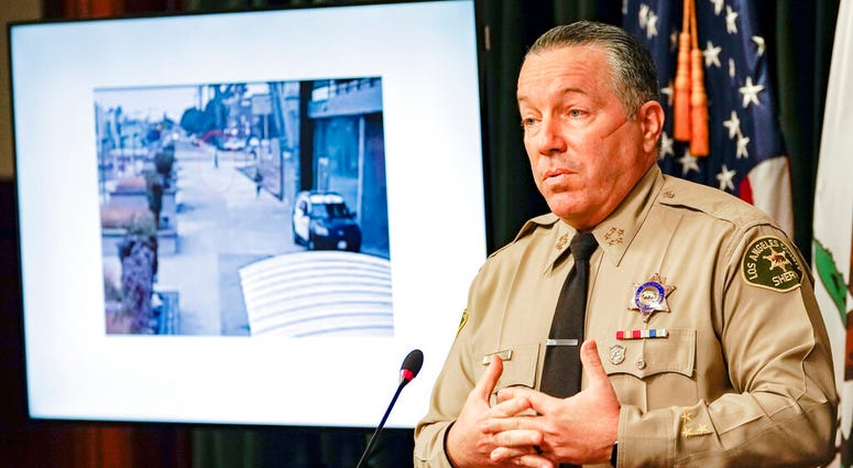 n this Sept. 17, 2020 file photo, Los Angeles County Sheriff Alex Villanueva comments on the investigation of the shooting of two deputies during a news conference at the Hall of Justice in downtown Los Angeles. (AP Photo/Damian Dovarganes, File)