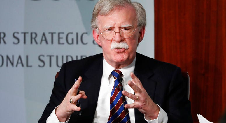 In this Sept. 30, 2019 file photo, former National security adviser John Bolton gestures while speaking at the Center for Strategic and International Studies (CSIS) in Washington. (AP Photo/Pablo Martinez Monsivais)