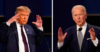 This combination of Sept. 29, 2020, file photos show President Donald Trump, left, and former Vice President Joe Biden during the first presidential debate at Case Western University and Cleveland Clinic, in Cleveland, Ohio. (AP Photo/Patrick Semansky)
