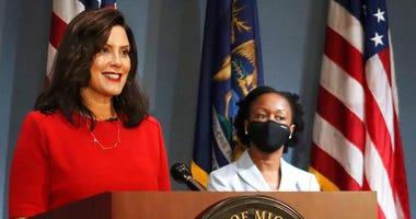 In this photo Sept. 16, 2020 file photo, provided by the Michigan Office of the Governor, Gov. Whitmer addresses the state during a speech in Lansing, Mich. (Michigan Office of the Governor via AP, File)