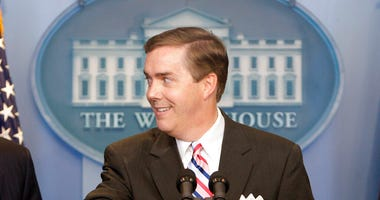 White House Correspondents Association President Steve Scully appears at a ribbon-cutting ceremony for the James S. Brady Press Briefing Room at the White House in Washington on July 11, 2007. (AP Photo/Ron Edmonds, File)