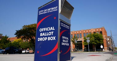 In this Thursday, Sept. 24, 2020, file photo, a ballot drop box is shown where voters can drop off absentee ballots instead of using the mail in Detroit. (AP Photo/Paul Sancya, File)
