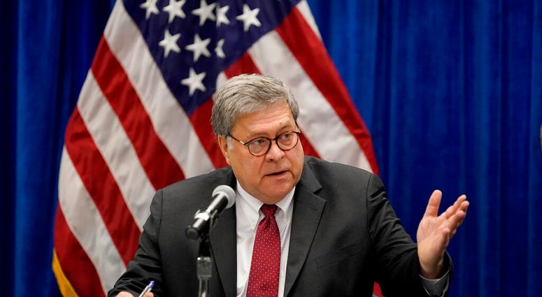 In this Oct. 15, 2020, file photo U.S. Attorney General William Barr speaks during a roundtable discussion on Operation Legend in St. Louis. (AP Photo/Jeff Roberson, File)