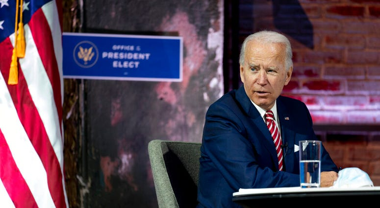 President-elect Joe Biden speaks during a briefing on the economy at The Queen theater, Monday, Nov. 16, 2020, in Wilmington, Del. (AP Photo/Andrew Harnik)