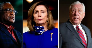 This combination of file photos shows from left, Rep. James Clyburn, D-S.C. on Feb. 29, 2020, in Columbia, S.C., House Speaker Nancy Pelosi of Calif., on July 24, 2020, in Washington and House Majority Leader Steny Hoyer, D-Md.