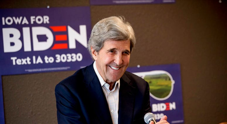 FILE - In this Jan. 9, 2020, file photo former Secretary of State John Kerry smiles while speaking at a campaign stop to support Democratic presidential candidate former Vice President Joe Biden. (AP Photo/Andrew Harnik, File)