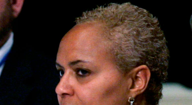 FILE- In this May 31, 2008 file photo, Tina Flournoy, then Democratic National Committee Rules and Bylaws committee member, during a hearing in Washington.  (AP Photo/Susan Walsh)
